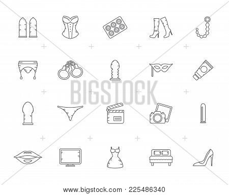 Line Sex Shop, Erotic And Temptation Icons  - Vector Icon Set