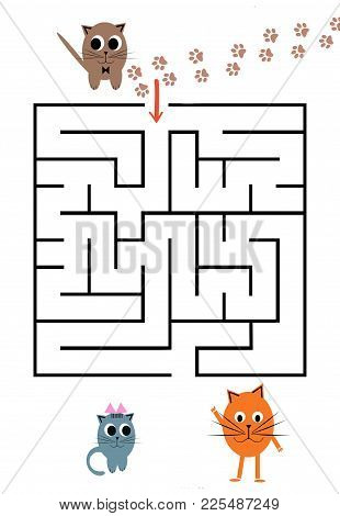 Funny Maze Game For Preschool Children. Help The Cat To Come To Friends