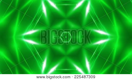 Abstract Background With Vj Fractal Green Kaleidoscopic. 3d Rendering Digital Backdrop.