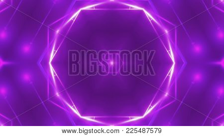 Abstract Background With Vj Fractal Violet Kaleidoscopic. 3d Rendering Digital Backdrop.