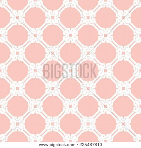 Classic Seamless Pattern. Traditional Orient Ornament. Classic Vintage Pink And White Background