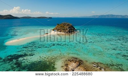 Aerial View Of Tropical Beach On The Bulog Dos Island, Philippines. Beautiful Tropical Island With S