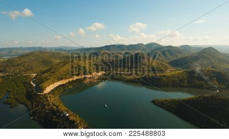 Seascape With A Tropical Bay Surrounded By Mountains On The Island. Aerial View: Beautiful Tropical