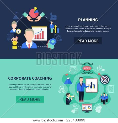 Coaching Horizontal Banners Set With Corporate Coaching Symbols Flat Isolated Vector Illustration