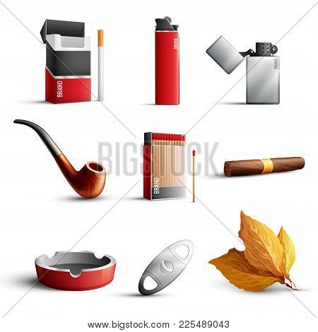 Traditional Tobacco Products Realistic Set With Cigarette Pack Matches Lighters Pipe Cigar Ashtray T