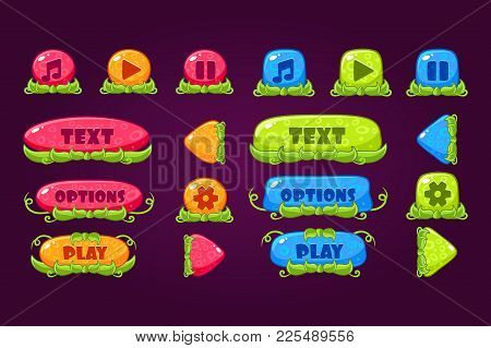 Colorful Collection Of Various Buttons For Computer Game Or Mobile App. Play, Pause, Sound, Options,
