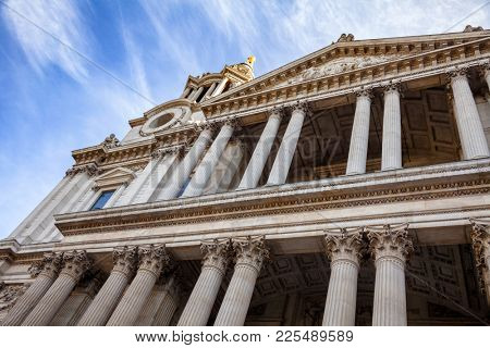 St Paul's Cathedral West Front Portico with Corinthian columns London UK
