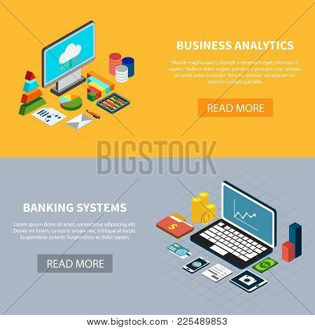 Set Of Two Horizontal Data Isometric Banners With Laptop Computer And Money Icons With Read More But