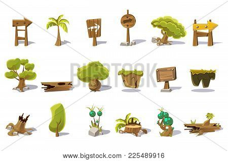 Cartoon Set Of Nature Elements For Mobile Or Computer Game. Palm, Green Trees, Stump, Old Woods, Poi