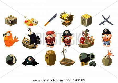 Cartoon Pirate Icons Set. Mobile Game Assets. Captain, Freebooter, Parrot, Sailboat, Treasure Chest,