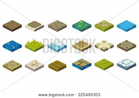 Cartoon Set Of Isometric Landscape Tiles With Different Surfaces. Grass, Ground, Water, Bog, Stone,