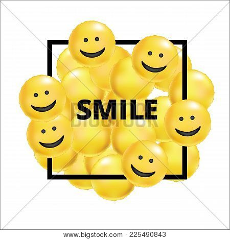 Smile Yellow Balloons Background. Fun Character People, Bright Balloon. Smiley, Funny Friends. Comic