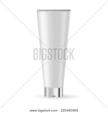 White Plastic Tube With Silver Lid For Medicine Or Cosmetics - Cream, Gel, Skin Care, Toothpaste.  R