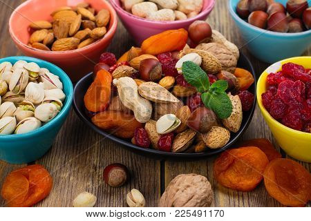 Assortment Of Dry Fruits And Nuts. Judaic Holiday Tu Bishvat. Copy Space