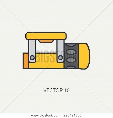 Line Color Vector Diver Underwater Equipment Icon Underwater Flashlight. Retro Style. Ocean, Sea Bea