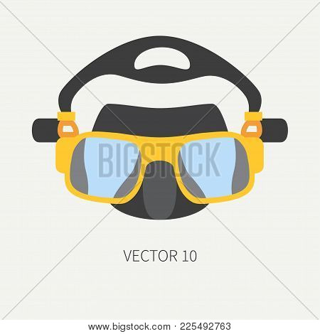 Plain Flat Color Vector Diver Underwater Equipment Icon Diver Mask. Retro Style. Ocean Deep, Sea Bea