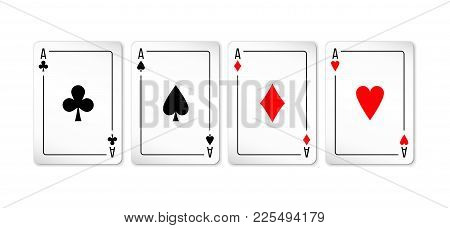 Set Of Four Aces Deck Of Cards For Playing Poker And Casino On White Background. Spades, Diamonds, C