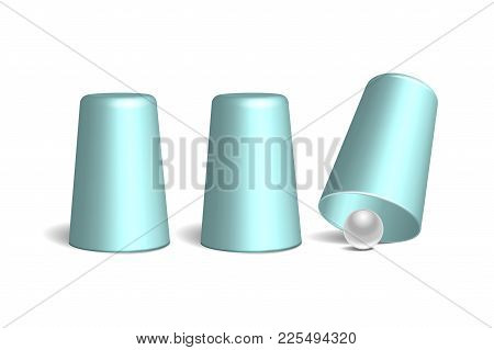 Shell Game. Three Light Blue Thimbles And White Ball. Equipment Performance Circus Show. Chance And