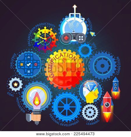 Gamification Flat Composition On Dark Background With Mechanism From Colorful Gears, Joystick, Rocke
