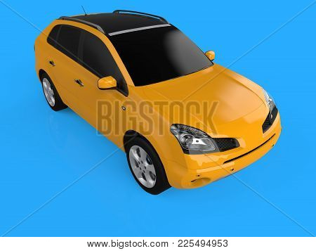 Compact City Crossover Yellow Color On A Blue Background. The View Is On The Right Front And Slightl