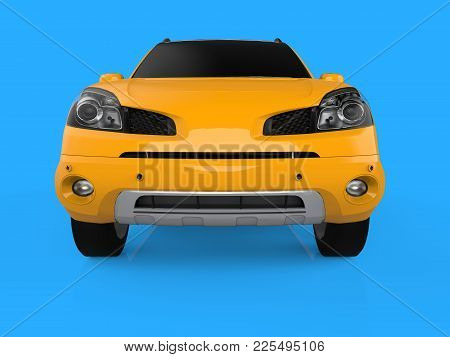 Compact City Crossover Yellow Color On A Blue Background. Front View. 3d Rendering