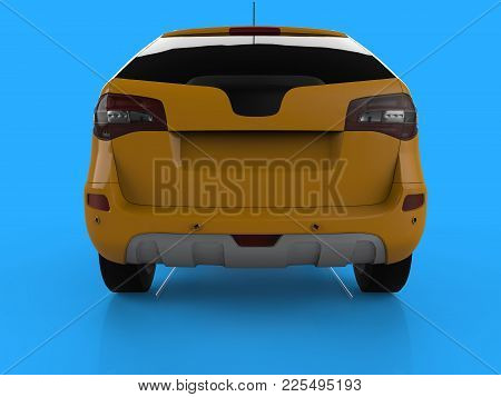 Compact City Crossover Yellow Color On A Blue Background. Back View. 3d Rendering