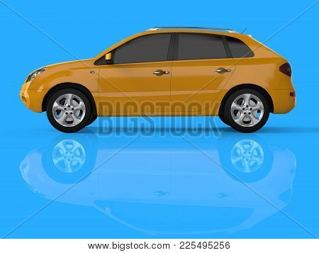 Compact City Crossover Yellow Color On A Blue Background. Left View. 3d Rendering