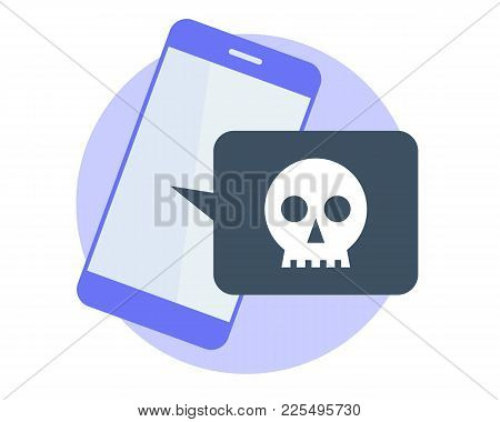 Hackers Attacked The Smart Phone And Stole The Data. Flat Vector Illustration Of Mobile Phone And Sm