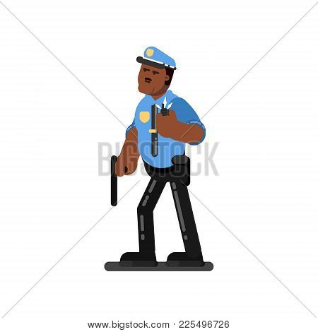 Black Police Officer With Truncheon Listen To Dispatcher. Vector Illustration, Eps 10
