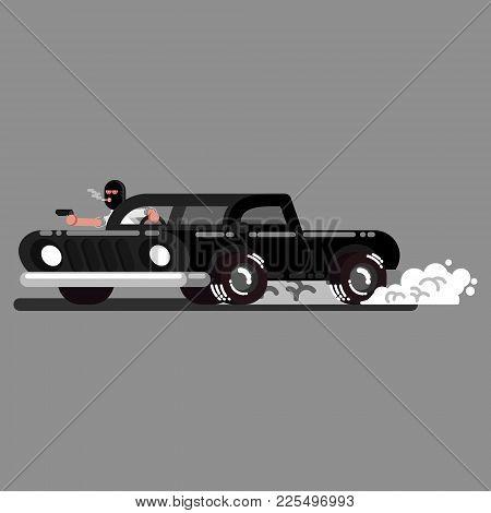 Criminal Drives A Car And Shoot. Vector Illustration, Eps 10