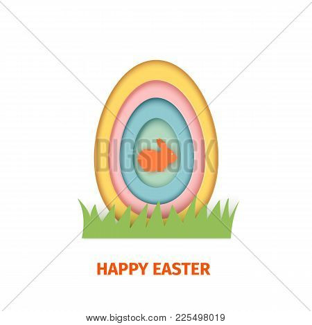 Happy Easter Greeting Card. A Paper Card In A Craft Paper Cut Style With Egg Layers And Rabbit. Vect