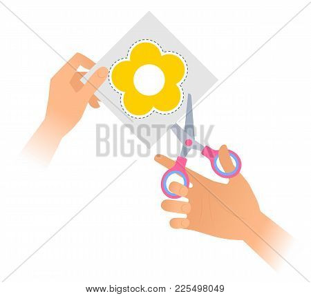 Human Hand Is Using A Pair Of Scissors To Cut Out A Flower From Paper. Flat Vector Illustration Of Y