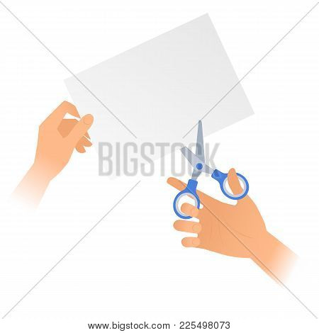 Human Hand With A Pair Of Scissors Cuts Off A Piece Of Paper. Flat Illustration Of A Steel Office Sh
