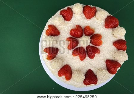 Valentines Day Anniversary Marriage Wedding Cake Raffaello With Heart Shaped Strawberries Desiccated