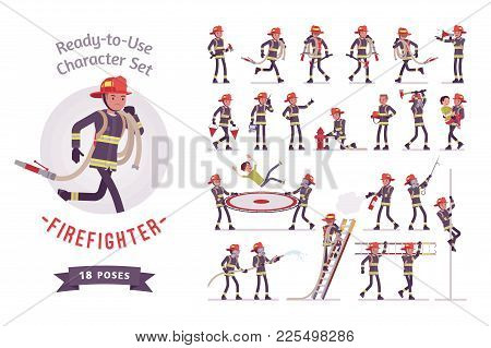 Male Firefighter Ready-to-use Character Set. Professional Fireman In Uniform, Fire Department Rescue
