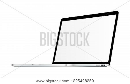 Laptop Mockup With Blank Screen Isolated - 34 Right View. Showcase Your Apps, Websites, Tools And Ot
