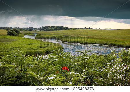 Summer Landscape With A River And Thunderclouds, Open Countryside