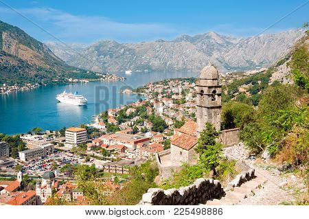 Kotor, Montenegro - September 27, 2012: Aerial View Of Historic Church Of Our Lady Of Remedy Overloo
