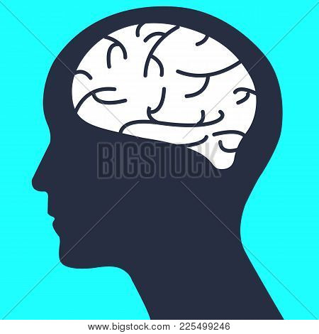 Silhouette Human Head With Simple Brain Vector.human Brain Design.creative Of Thinking Concept