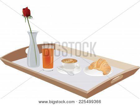 Breakfast Service With Wooden Tray Breakfast Service With Wooden Tray