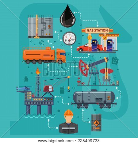 Oil Industry Infographics With Flat Icons Extraction Production And Transportation Oil And Petrol Wi