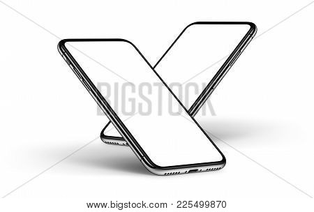 Tilt back falling down rotated smartphones in iPhone X style mockup front sides with shadows on white background. 3D illustration.