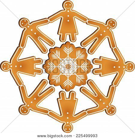 Isolated Vector Gingerbread Men And Women Hold Hands In Circle Standing On The Gingerbread Snowflake