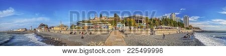 In Autumn There Are Few People On The Beaches Of The Resort City Of Sochi. But The City Is Beautiful