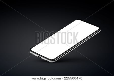 iPhone X style perspective smartphone mockup on black background. Perspective view smartphone mockup with blank screen rests on one corner with shadow. Use it for mobile game or application UI presentation. 3D illustration.