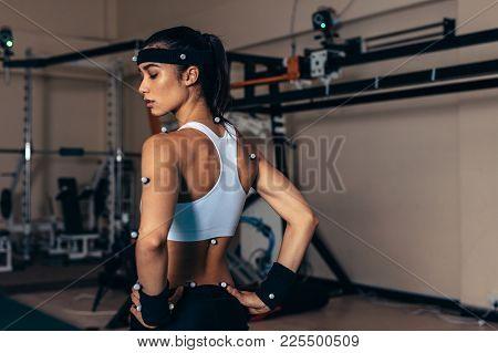 Sportswoman With Motion Capture Sensors