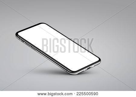 iPhone X style perspective smartphone mockup on gray background. Perspective view smartphone mockup with blank screen rests on one corner with shadow. Use it for mobile game or application UI presentation. 3D illustration.