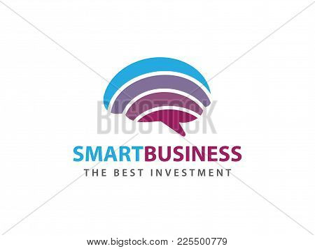 Smart Rainbow Colorful Brain Advanced Technology Vector Logo Design