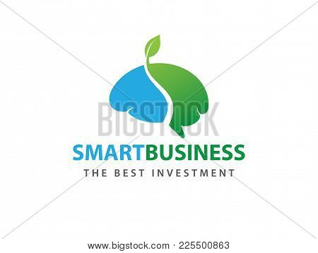 Grown Green Smart Brain Vector Logo Design