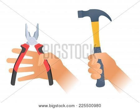 Human Hand Holds A Pair Of Pliers With Red Plastic Handles And Hummer With Plastic Handle. Flat Illu